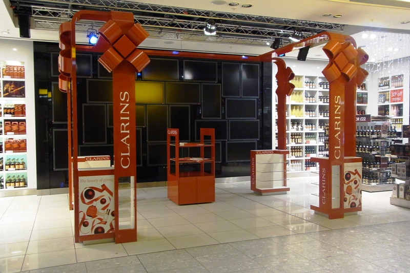 Clarins Christmas Girft Wrap Displays